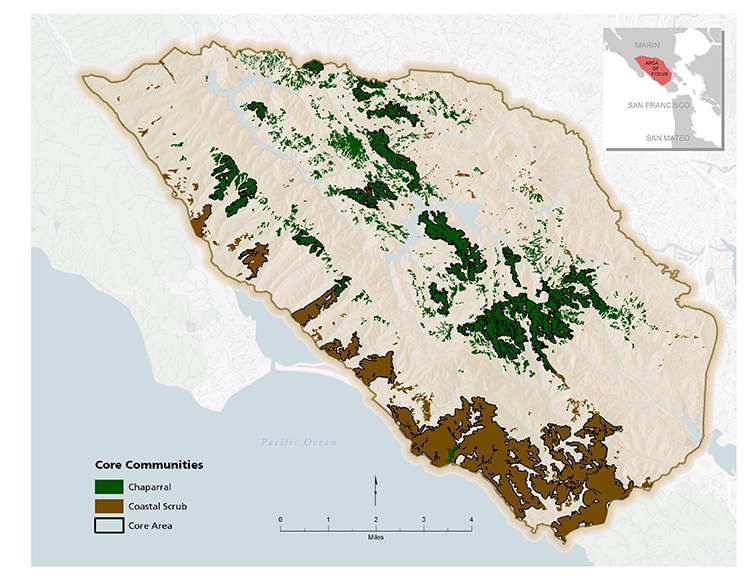 Map of core chaparral and coastal scrub locations in the One Tam area of focus